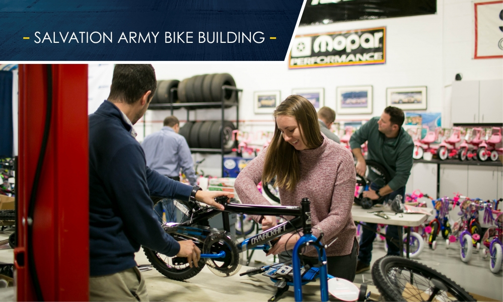 Aristeo employees purchase, assemble, and deliver more than 250 bikes and helmets to the Salvation Army during the holidays.