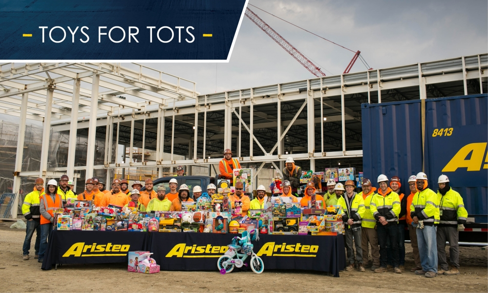 Every year Aristeo hosts a Toys for Tots drive at our office to give back to the community.