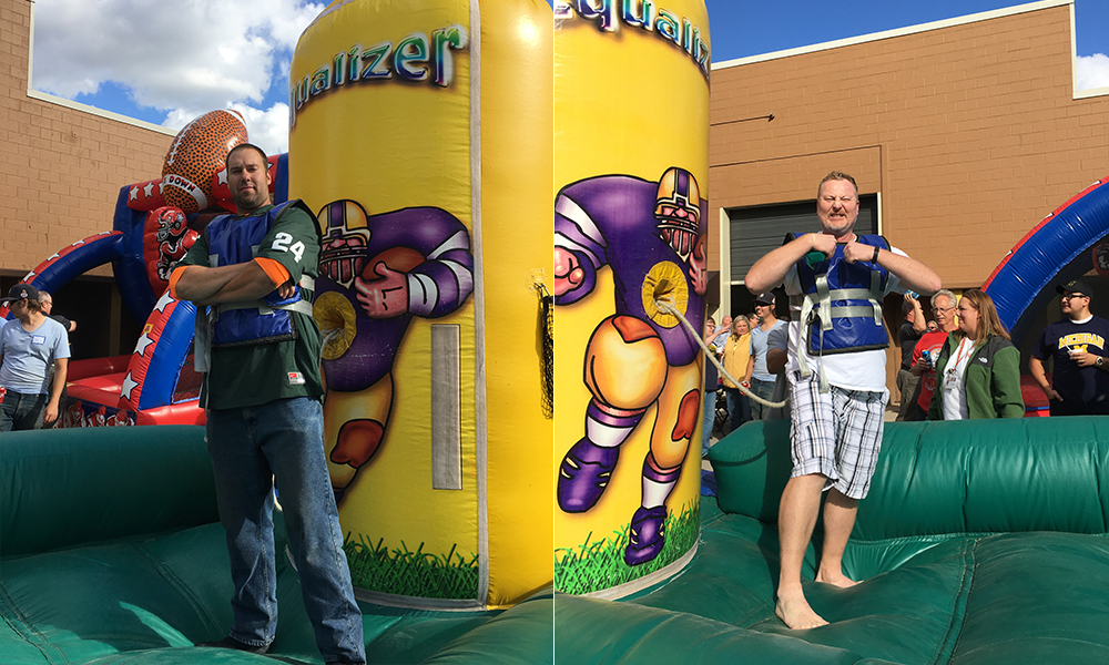 One of the annual events at Aristeo is the fall football party, complete with inflatable games.
