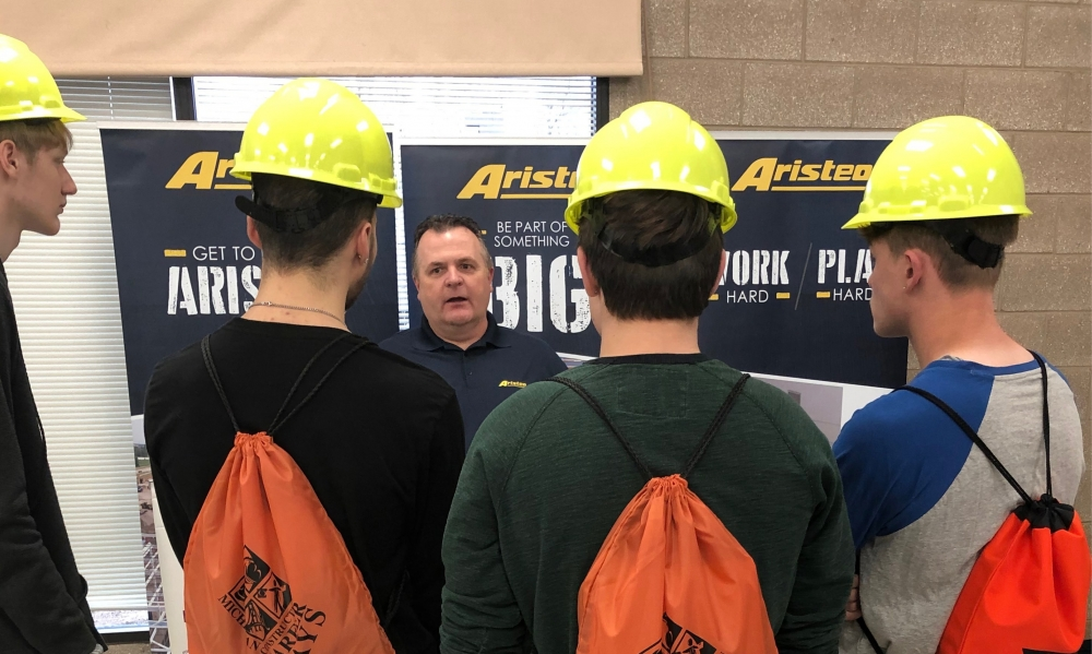 Aristeo recuits from college fairs and many local skilled trades schools.