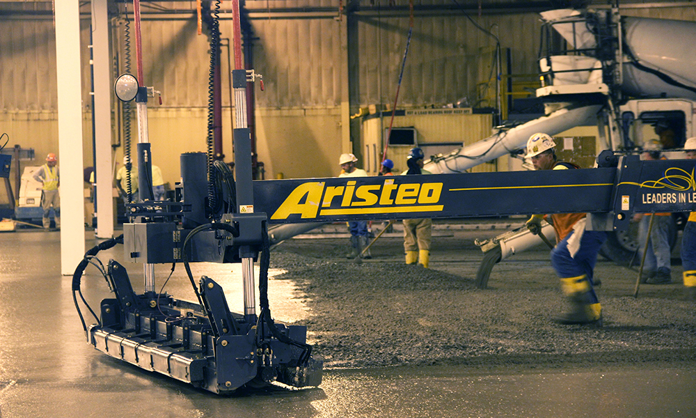 Aristeo's automated laser screeds makes it possible to efficiently self perform laser leveled super flat floors for our clients.