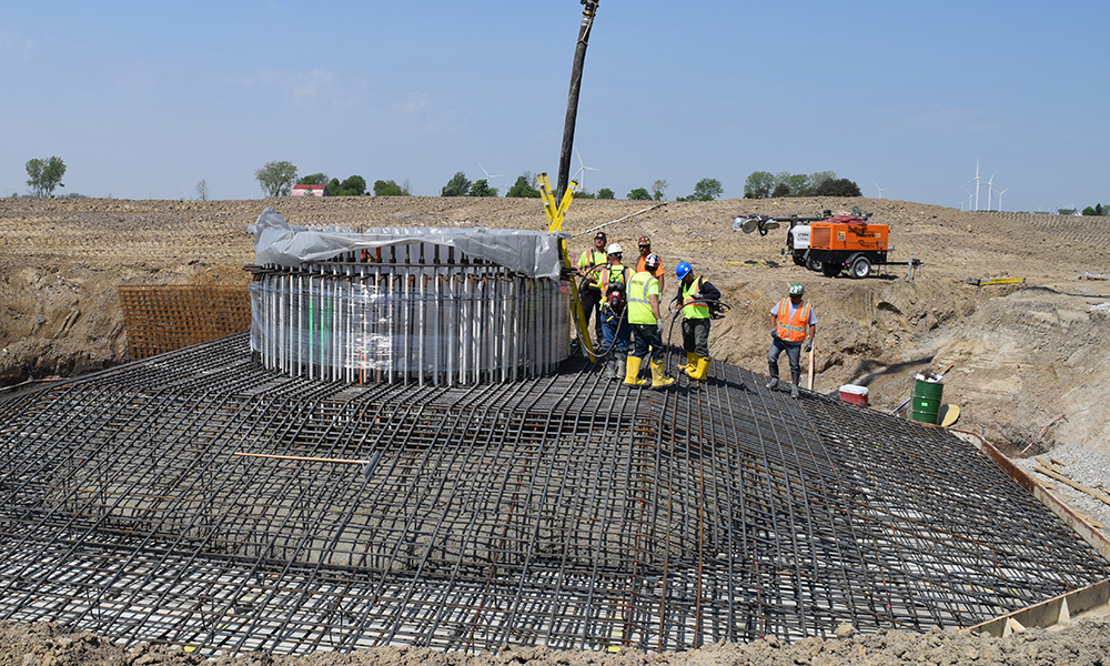 Aristeo Construction self performs concrete wind turbine foundations as part of our many concrete construction services.