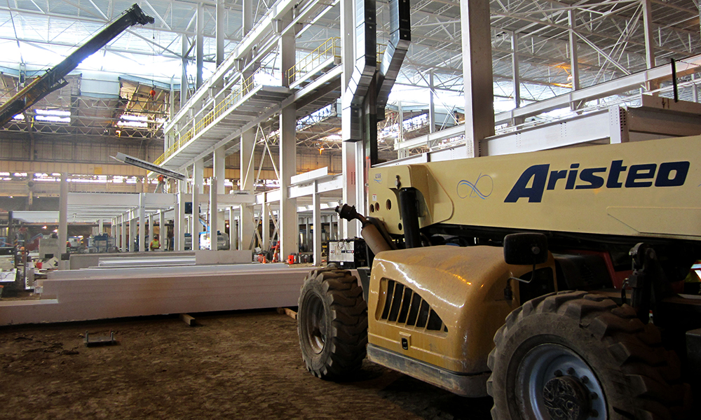 Aristeo Construction self performs steel fabrication and erection, including structural steel, embedded steel, miscellaneous steel, and specialty fabrication.