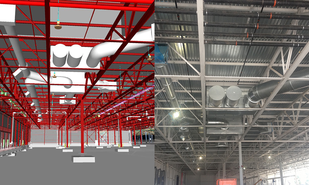 Using Building Information Modeling (BIM) to layout the placement of ducts in a building.