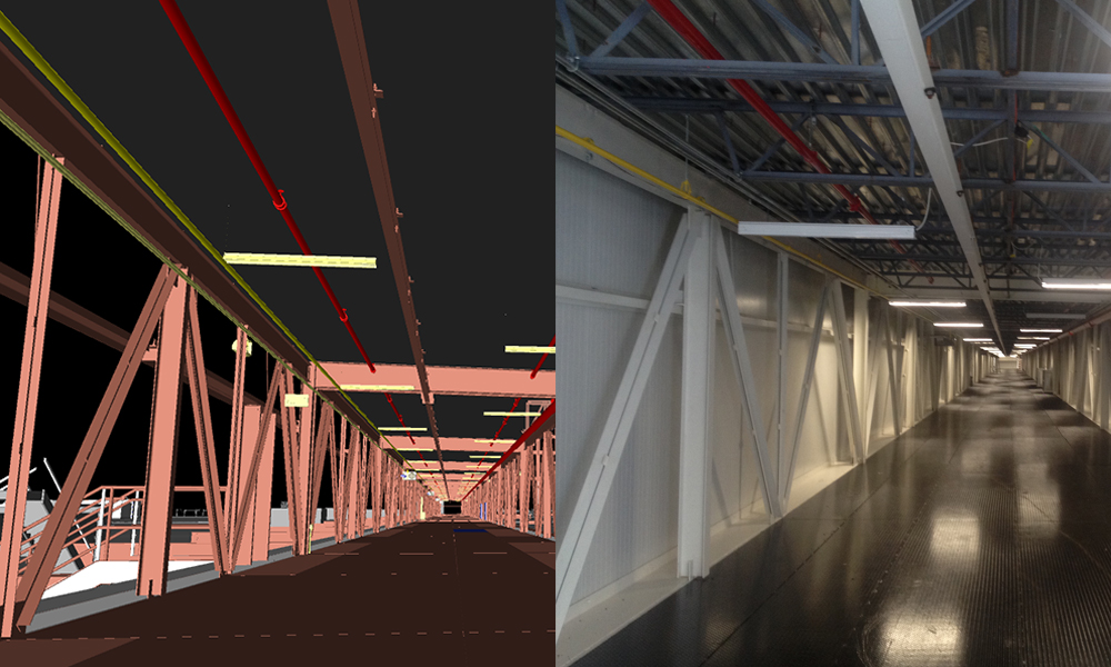 The trestle in this interior space was first modeled using BIM, or Building Information Modeling, before Aristeo's team built it out.