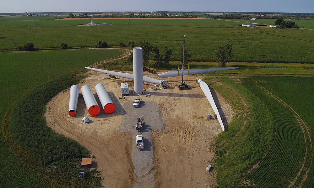 As a general contractor, Aristeo manages entire wind turbine projects, including everything from pouring the concrete foundation to erecting the turbines.