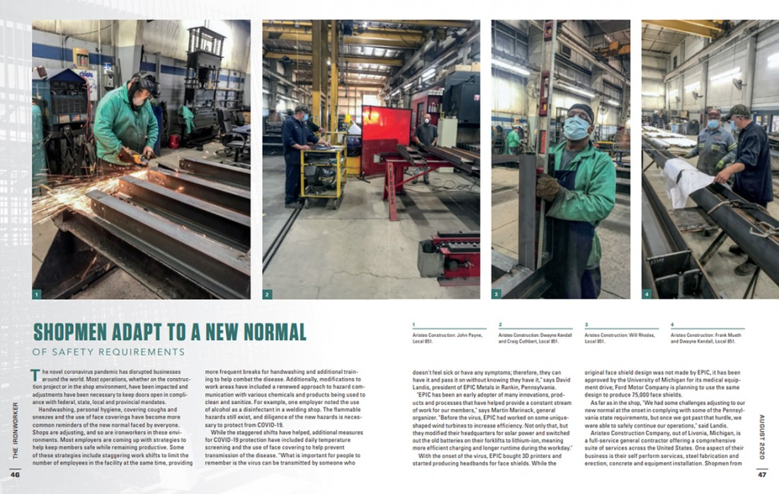 Aristeo Construction Featured in The Ironworker Magazine - August 2020 - Ironworkers_International_COVID_Article_Spread