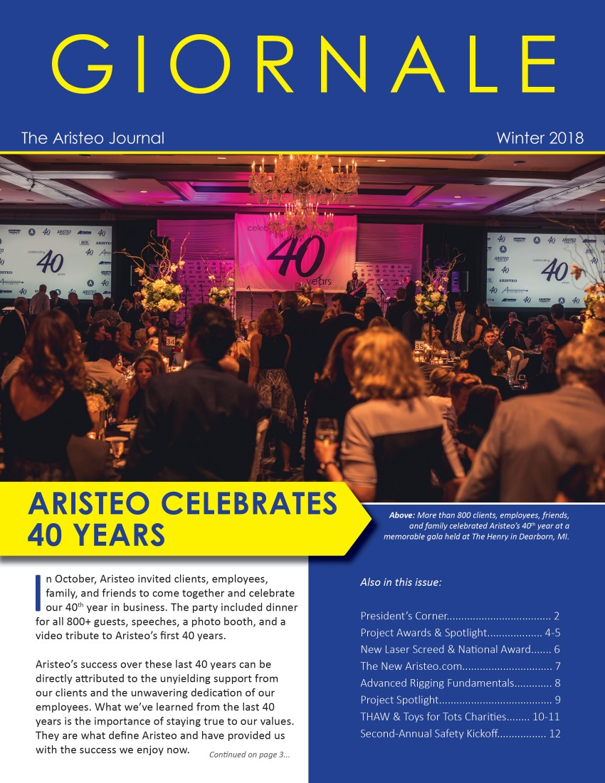 Aristeo Giornale Company Newsletter - Winter 2018